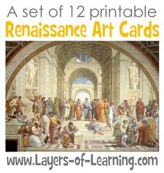 This set of 12 printable Renaissance Art Cards has matching description cards that tell the name of the piece, the artist, and a few details of the painting.
