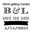 """Warmth Custom Bridal Save The Date Stamp. 1.5"""" x 1.5"""" or 1.5"""" diam."""