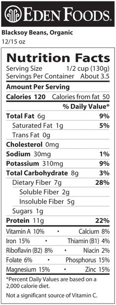 Eden Foods - Black Soybeans, Organic, BPA free lined can Kidney Beans Nutrition,