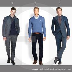Los tonos azules son un clásico que no puedes dejar de llevar en un día de oficina. Te comparto mis 3 recomendaciones para hoy. ¿Cuál es tu favorita? ¿1, 2 ó 3? #ModaMasculina