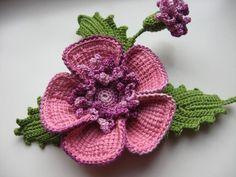 Beautiful crochet flower brooch - a master class. Discussion on LiveInternet - Russian Service Online Diaries Crochet Brooch, Freeform Crochet, Crochet Motif, Irish Crochet, Crochet Lace, Crochet Stitches, Knitted Flowers, Crochet Flower Patterns, Crochet Designs