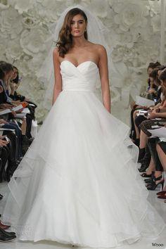 wtoo watters spring 2015 selena strapless ball gown wedding dress surplice sweetheart neckline horsehair layered skirt