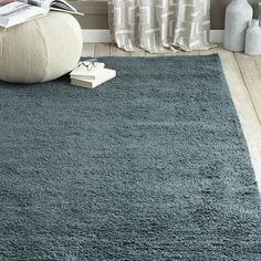 Steven Alan Solid Wool Shag Rug - Blue Lagoon | West Elm 5x8 $399