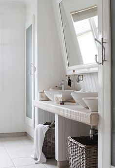 tilted mirror and tiled countertop