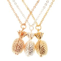 Mixed Metal Pineapple Locket Best Friend Necklaces