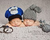 Twin cop and robber set, Twin hats, photography prop set, cop and robber set, cop hat, knot knit hat, newbon crochet hats,. $40.00, via Etsy.
