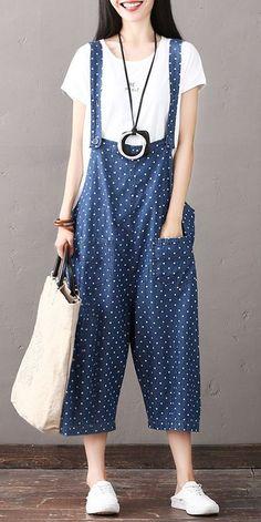 cadde7eca7f Plus Size Black Plaid Cotton Linen Overalls Women Loose Jumpsuits ...