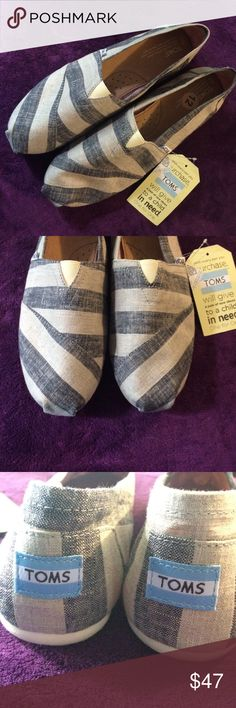 TOMS women's classic sz 12 new navy stripe style! These are a nice new with tags pair of classic toms. Style could really be for men or women. Tan and navy color. Very nice no flaws! TOMS Shoes Flats & Loafers