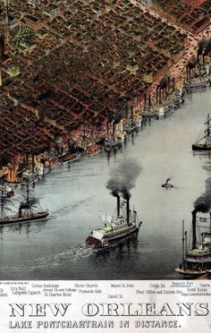 The city of New Orleans, and the Mississippi River with Lake Pontchartrain in distance published in New York by Currier & Ives, 1885. Bird's-eye view of New Orleans with the Mississippi River in the foreground; prominent building and place names are listed below the image.