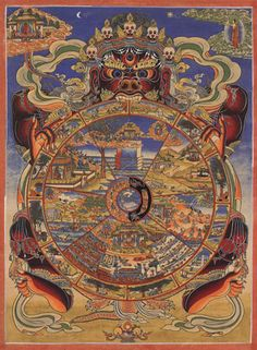 The Bhavacakra  or Wheel of Becoming is a symbolic representation of continuous existence process in the form of a circle, used primarily in Tibetan Buddhism.