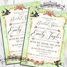 Mint Green Bridal Shower Invitation Garden by Cloud9Factory