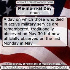 Memorial Day Explanation | Voice Dictionary Daily Def: Memorial Day 05/26/2014 GFX Definition of ...