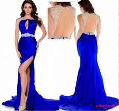 Royal Blue Prom Dress,Mermaid Prom Dress,Satin Prom Gown,Backless Prom Dresses,Sexy Evening Gowns,Slit Evening Gown,Open Back Party Dress,Split Formal Gowns For Teens PD20184847