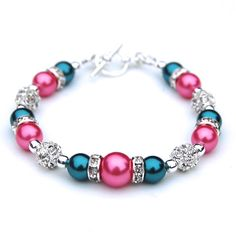 Teal and Pink Pearl Rhinestone Bracelet Bridesmaids by AMIdesigns, $24.00
