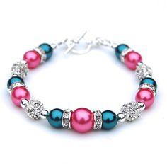 Teal and Pink Pearl Rhinestone Bracelet Bridesmaids by AMIdesigns, $24.00