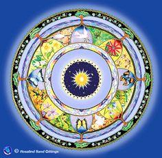 Peace Blessing. Handpainted mandala by Rosalind Gittings