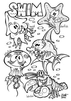 sea animals coloring pages 01 | For child\'s sea quilt or wall ...