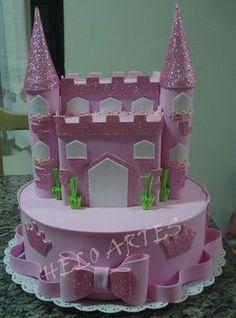 bolo falso em eva castelo 2   HELO ARTES EM EVA   Elo7 Frozen Themed Birthday Party, Ballerina Birthday Parties, Baby Birthday, Diy Crafts For Home Decor, Diy Crafts For Gifts, Foam Crafts, Aurora Cake, Bolo Fack, Dummy Cake