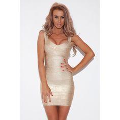Gold Sleeveless Bandage Dress
