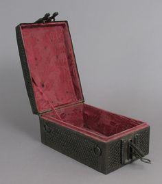 Coffret Date: 15th–16th century Culture: European Medium: Iron, wood core, textile interior Dimensions: Overall: 6 3/8 x 13 1/2 x 8 5/8 in. (16.2 x 34.3 x 21.9 cm) Classification: Metalwork-Iron