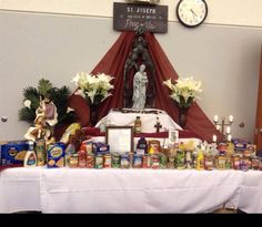 Joseph Altar at St. Joseph Catholic School in Arlington TX - the students brought in food donations in honor of the Feast of St. Food Donations, Catholic School, St Joseph, Altar, Students, Action, Faith, Ideas, Saint Joseph