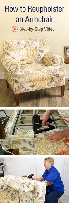 vintage furniture our step-by-step video instructions and learn how to reupholster an armchair. Furniture Repair, Furniture Projects, Furniture Makeover, Furniture Design, Furniture Stores, Furniture Layout, Furniture Arrangement, Diy Projects, Furniture Village