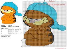 Garfield avec chapeau grille point de croix 77 x 78 6 couleurs