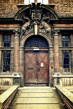 One of the doors of the Department of Zoology, Cambridge University.