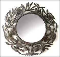 Metal Mirror Wall Hanging  Birds / Leaves  -  Hand Hammered Haitian Recycled Steel Drum Art  - Haiti Metal Art    by HaitianMetal on Etsy, $89.95