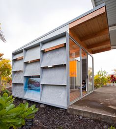 Ohanapod  Big Island, Hawaii    This guest house was built using a hybrid system of site built construction and a prefabricated galvanized and acrylic panel system.