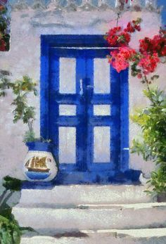 Traditional Door In Hydra Island Painting  - Traditional Door In Hydra Island Fine Art Print