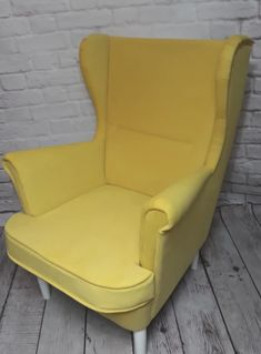 Scandinavian Style Wing back Yellow Armchair MAXI Yellow Armchair, Single Piece, Scandinavian Style, Armchairs, Natural Wood, Confident, Invites, Wings, Shape