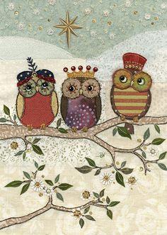 Three Wise Owls - Bug Art greeting card