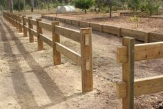 post and rail Driveway Fence, Driveway Entrance, Farm Fence, Backyard Fences, Garden Fencing, Backyard Projects, Outdoor Landscaping, Split Rail Fence, Horizontal Fence
