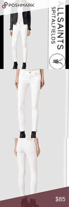All Saints Rail Side Zip Jeans All Saints Rail Side Zip Jeans in White-Skinny Fit-Low Rise-Super Stretch -Exposed Zip Hem  98.5% cotton, 1.5% elastane. Delicate machine wash. All Saints Jeans Skinny