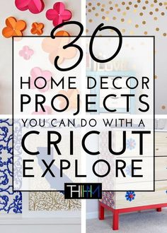 A Cricut Explore can be used for SO much more than paper crafts! Check out these. A Cricut Explore can be used for SO much more than paper crafts! Check out these awesome 30 home decor projects that you can make with a Cricut Explore! Diy Craft Projects, Diy Home Crafts, Decor Crafts, Craft Ideas, Ideas For Cricut Projects, Fun Ideas, Cricut Explore Projects, Cricut Explore Air, Cricut Air 2