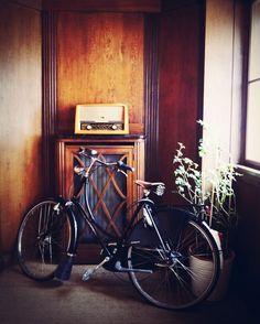 Lena Hoschek's bicycle and vintage radio