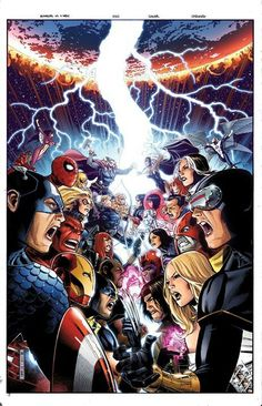 avengers vs. x-men. Except wait, why is spider man over there? He's not an avenger and everyone knows it