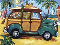 to the beach-car-1 posters2prints