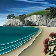 Check out Pohutukawa Cave Canvas Art Print by Diana Adams at New Zealand Fine Prints Nz Art, Art For Art Sake, Landscape Quilts, Landscape Paintings, Landscapes, Canvas Paintings, Large Canvas Prints, Fine Art Prints, Online Art Store