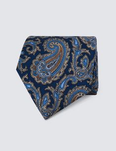 Men's Navy & Blue Paisley Print  Tie - 100% Silk