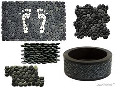 Top 5 Black Pebble Tile. Lux4home ™ black pebbles. See our collections of natural stones that we use for washbasins and mosaics. In the photo: pebble doormat / pebble shower mat, black pebble sink, 3D pebble cladding, mesh pebble mosaics.