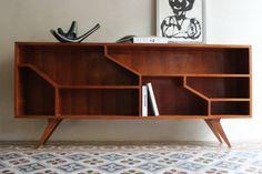 consolle legno anni '50 con gambe inclinate nero design arezzo 1