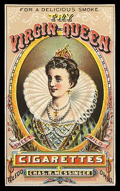 VirginQueenCigs - Trade Card, this site has hundreds of beautiful pieces of ephemera!
