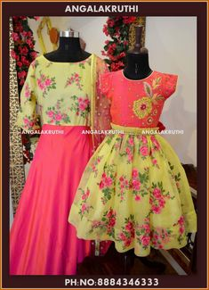 Mother and Daughter matching dress designs by Angalakruthi boutique Bangalore Mom Daughter Matching Dresses, Mom And Baby Dresses, Kids Blouse Designs, Dress Designs, Kids Indian Wear, Kids Dress Wear, Kids Frocks Design, Mother Daughter Fashion, Sleeves Designs For Dresses