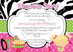 Slumber Party Invitation Sleepover Pajama Party - DIY Print Your Own - Choose Your Girl - Match Party Printables available. $12.00, via Etsy.
