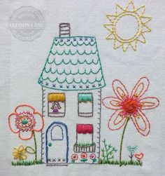 The Flower Cottage Embroidery Pattern - via @Craftsy