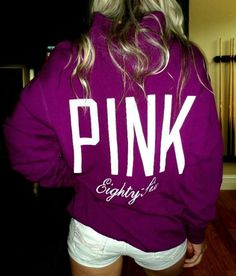 Victoria's secret PINK AWESOME PURPLE SWEATSHIRT WITH WHITE SHORTS!!!