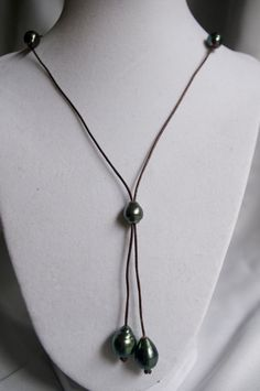 Tahitian Pearl and Leather Lariat Necklace by Maunakeamoonlight, $225.00