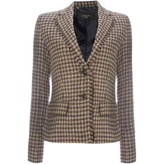 Max Mara Salita gingham long sleeve wool blazer (1.080 BRL) ❤ liked on Polyvore featuring outerwear, jackets, blazers, camel, women, gingham jacket, blazer jacket, long sleeve jacket, woolen jacket and long sleeve blazer